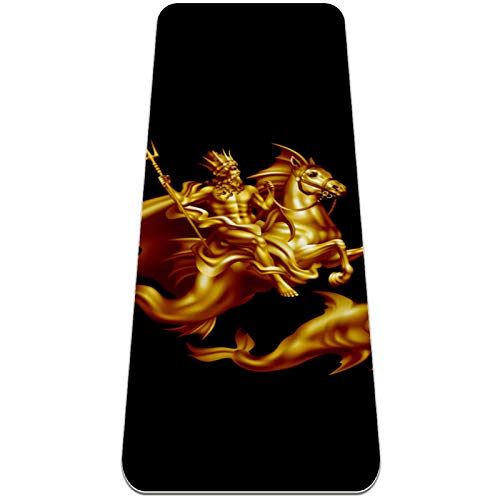 Yoga Mat - Golden Seahorse Dolphin Fairytale Art - Extra Thick Non Slip Exercise & Fitness Mat for All Types of Yoga,Pilates & Floor Workouts