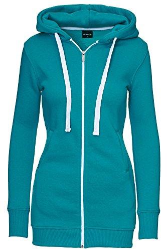 MERISH Damenjacke Sportjacke Lang Kapuzenjacke Freizeitjacke 5 Farben Neu Long Sweater Modell 222 Türkisblau M