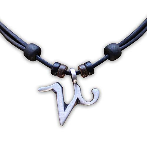 HANA LIMA 1 von 12 Sternzeichen Tierkreiszeichen an Verstellbarer Halskette Horoskop Horoscope Lederkette Surferkette J - Steinbock (Capricorn) / 22. Dezember - 20. Januar