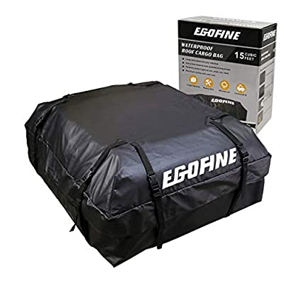 Egofine Car Roof Bag - 15 cu.ft Cargo Carrier Bag100% Waterproof for Cars, Vans and SUVs with Roof Rail or Roof Rack