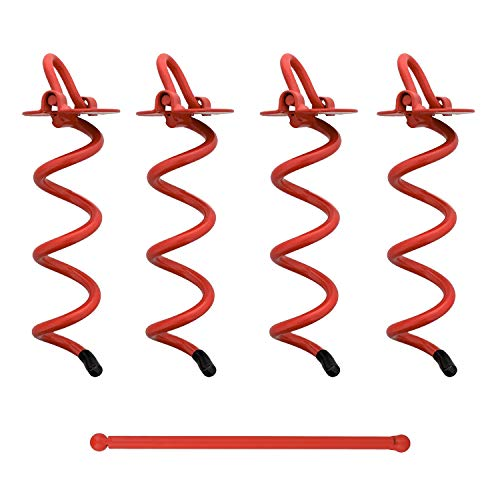4 Pack 8 Inch Tent Stakes Heavy Duty Ground Screw Anchor Twist Stakes 7Penn Spiral Ground Anchors