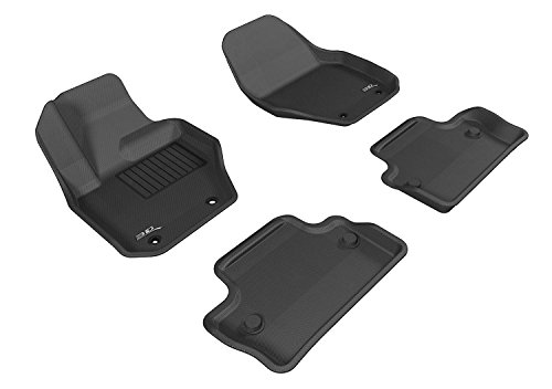 3D MAXpider All-Weather Floor Mats for Volvo S60 2011-2018 / V60 2015-2018 Custom Fit Car Floor Liners, Kagu Series (1st & 2nd Row, Black)