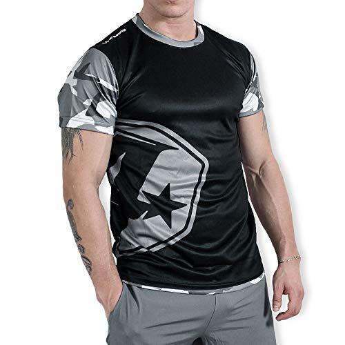 4more® - (K4, Fitness T-Shirt Herren, Kurzarmshirt, Schnell trocknend, Antibakteriell, Schweiss absorbierend (L, schwarz/grau)