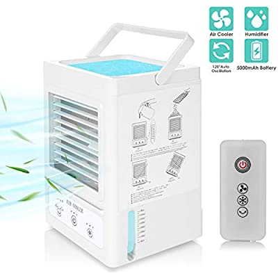 Portable Air Conditioner Fan, Upgraded 5000mAh Battery Operated Personal Air Cooler, Remote Control, 120° Auto Oscillation, 3 Fan Speeds and Refrigeration Levels for Home Office Outdoor