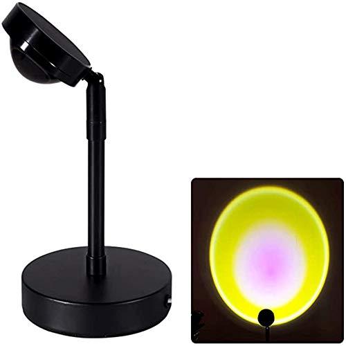 DDYBF Sunset Projection LED Lámpara, Rotación de 90 Grados Lámpara de Mesa de Proyección, Romántica Arco Iris luz de Pie Para Dormitorio, Carga USB (sol)