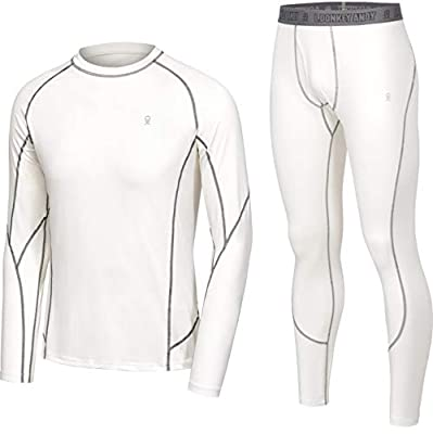Little Donkey Andy Men's Thermal Underwear Set Performance Base Layer Wicking Active Long Johns Top & Bottom with Fly White L