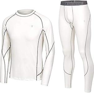 Little Donkey Andy Conjunto de ropa interior térmica para hombre con capa base que absorbe la humedad y la parte inferior con bragueta, S, A.Blanco