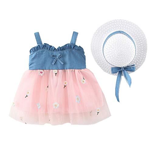 Allskid 0-3 Jahre alt Baby Mädchen Kleider Sommer Ärmellos Sanft Denim Stitching Blumen Stickerei Garn Rock Tutu Leibchen Kleid Girls Dresses (70CM/0-6 Months, Rosa)