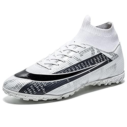 YUHAI Zapatos de fútbol para Hombre, Zapatos de Entrenamiento Adolescente, Zapatos de fútbol Profesional Profesional para niños Unisex, White Broken Nails-40