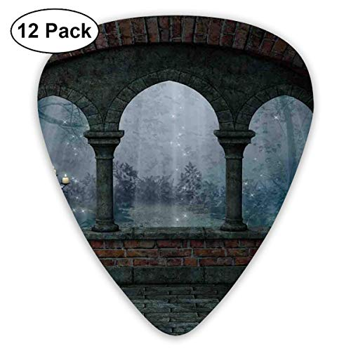 Gitarre wählt mittelalterliche Burg in der Nacht mit altem Bogen und Kerzen Mittelalter nebliges Bild, für Bass elektrische Akustikgitarren-12 Pack