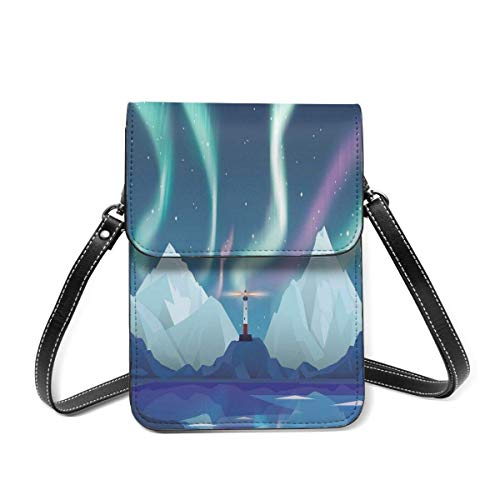 XCNGG Aurora Lighthouse Creative Abstract Small Crossbody Coin Purse Phone Purse Mini Cell Phone Pouch Leather Smartphone Bags Purse,With Removable Shoulder Strap,Shoulder Bag For Women Girls