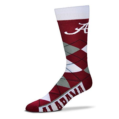 For Bare Feet NCAA Argyle Lineup Socks-Alabama Crimson Tide-One Size Fits Most