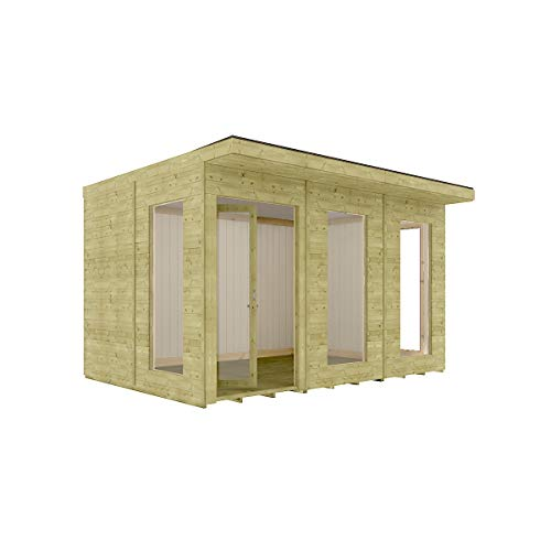 12 x 10 Garden Room Home Office Pressure Treated Pent Roof Clubhouse Bi-Fold Doors with Opening Windows 3.65m x 3m