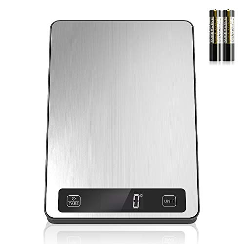 Food Scale Nicewell Digital Kitchen Scale Weight Grams and oz for Cooking Baking Max 11lb/5kg 1g/01oz Precise Graduation Stainless Steel and Tempered Glass