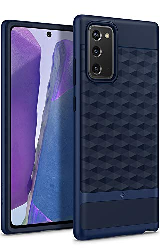 Caseology Parallax, Funda Samsung Galaxy Note 20, Diseño Geométrico, Patrón 3D, Carcasa Diseñada para Galaxy Note 20 - Midnight Blue