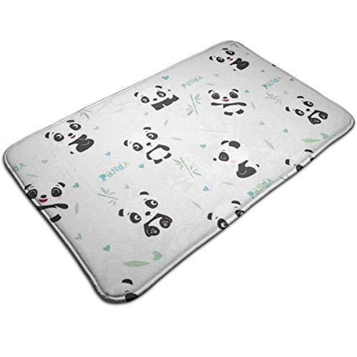 Panda Bamboo Welcome Door Mat Indoor Outdoor Entrance Rug Floor Mats Shoe Mat for Kitchen Bathroom Floors Carpet 60x40 cm