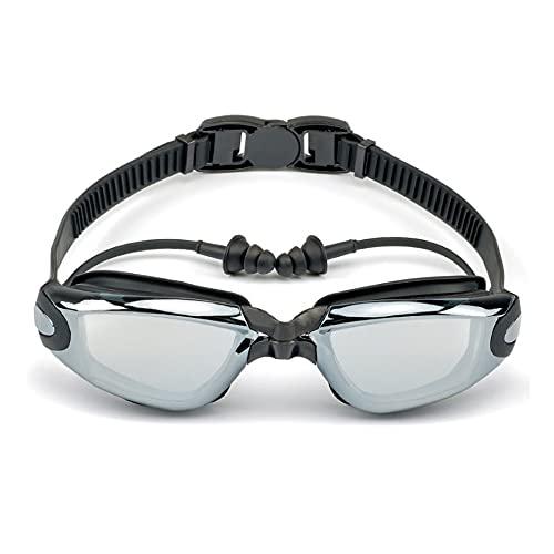 CellLucky Hombres Profesionales, Mujeres, Gafas de natación, Tapones para los oídos, Gafas antivaho a Prueba de Agua para Adultos(Neger)