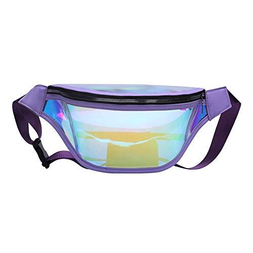 Modieuze heuptas van transparant pvc met lasereffect, kan gemakkelijk worden versteld, licht en comfortabel op reis, in de open lucht, bij het winkelen of als accessoire voor kleding.