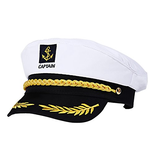 BESTOYARD Adult Yacht Boat Ship Sailor Captain Costume Hat Cap Navy Marine Admiral (White), As Shown, 22 x 15 x 5 cm