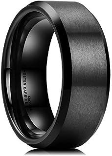 King Will Basic Men Wedding Black Tungsten Ring 8mm Matte Finish Beveled Polished Edge Comfort Fit