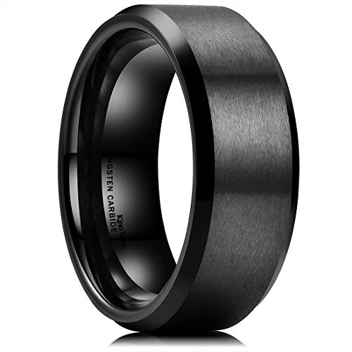 King Will BASIC Men Wedding Black Tungsten Ring 8mm Matte Finish Beveled Polished Edge Comfort Fit 15