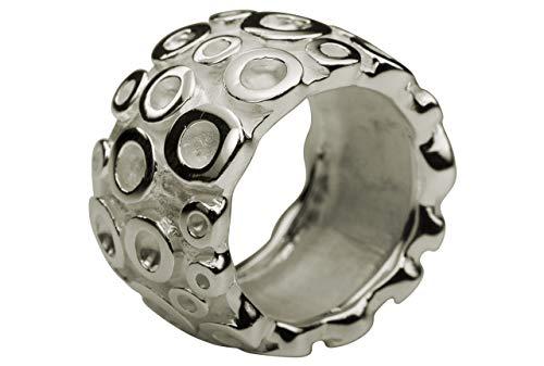 SILBERMOOS Damen Ring Bandring Kreis-Struktur breit matt glänzend massiv 925 Sterling Silber, Größe:58 (18.5)