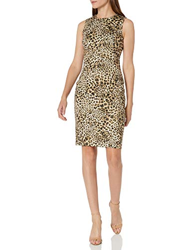Calvin Klein Women's Scuba Sleeveless Princess Seamed Sheath Dress, Camel Multi, 8