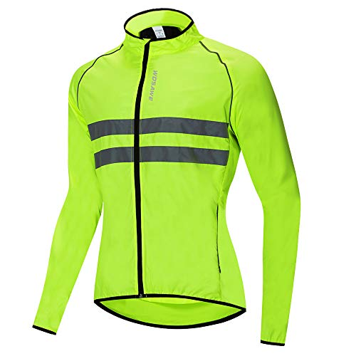 WOSAWE Fahrradjacke für Herren Damen wasserdichte Ultraleichte Sportbekleidung Atmungsaktiv für Radfahren, Laufen, Wandern, Bergsteigen (BL215 Grün M)
