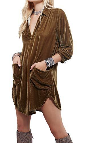 R.Vivimos Womens Velvet Long Sleeve Pocket Casual Mini Shirt Dress (Small, Brown)