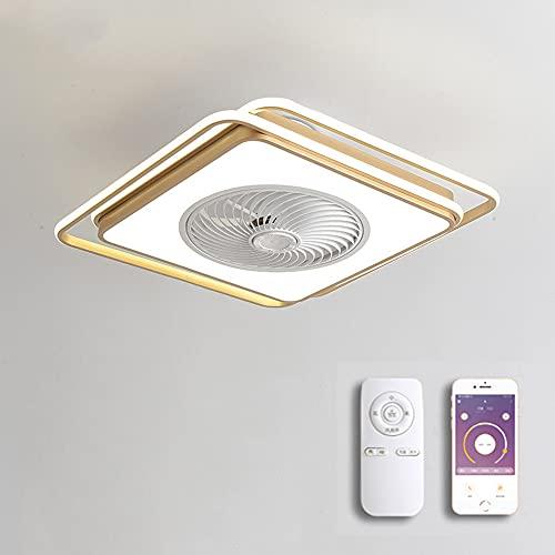 YHNJI Ventilador de Techo silencioso con luz y Mando a Distancia para Infantil de Dormitorio Sala Moderna LED Lámpara De Techo Ventilador Invisible con App Regulable y 3 Velocidad del Viento,Oro