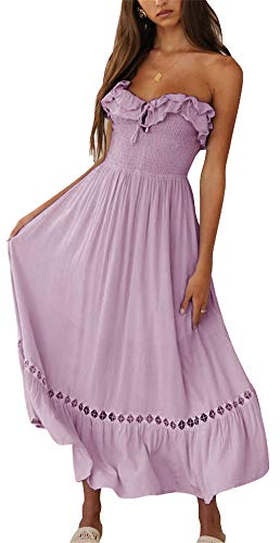 BOCOTUBE Women¡¯s Summer Sleeveless Strapless Ruffle Off Shoulder Fit and Flare Swing Dress Purple, Medium