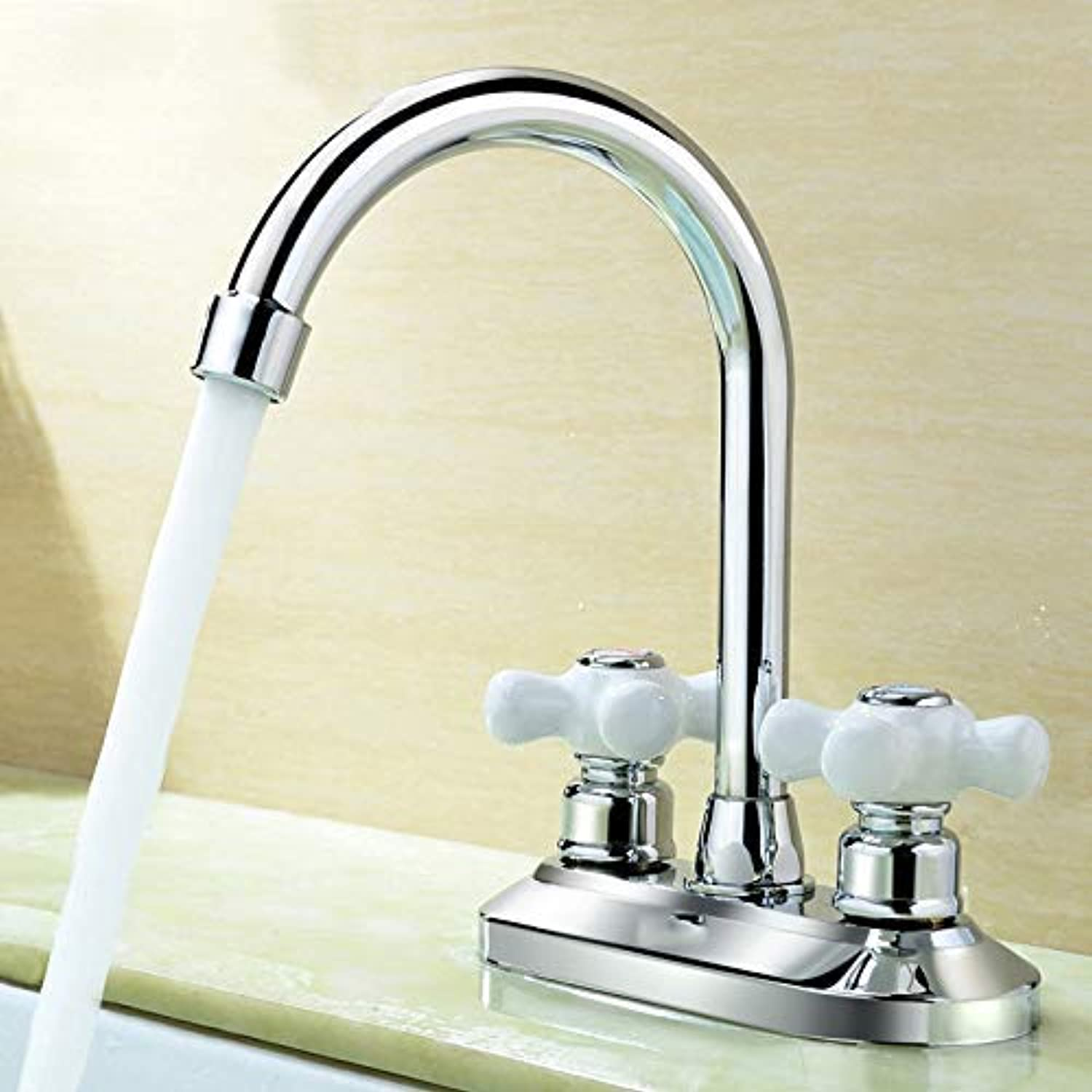 Oudan Basin Mixer Tap Bathroom Sink Faucet Double Double Handle hot and cold basin tap,T (color   Q)