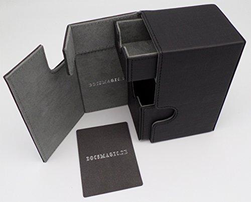 docsmagic.de Premium Magnetic Tray Box (80) Black + Deck Divider - MTG PKM YGO - Porta Mazzo Nero