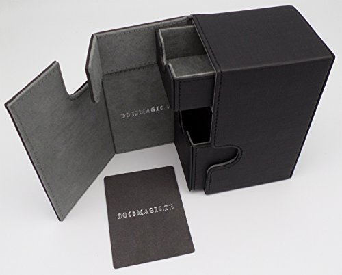 docsmagic.de Premium Magnetic Tray Box (80) Black + Deck Divider - MTG PKM YGO - Kartenbox Schwarz