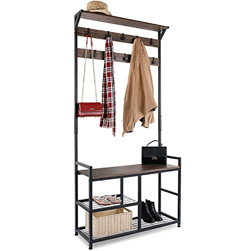 HOMEKOKO Coat Rack Shoe Bench Hall Tree Entryway Bench with Storage, Wood Look Accent Furniture with Metal Frame, 3-in-1 Design (Dark Brown)