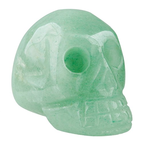Rockcloud Healing Crystal Stone Human Reiki Skull Figurine Statue Sculptures Green Aventurine 1.5'