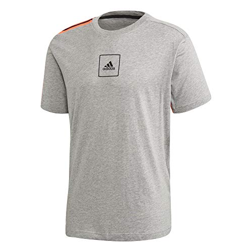 adidas Herren 3 Streifen Tape T-Shirt, Mgreyh, L