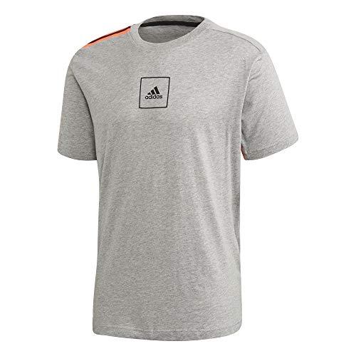 adidas Herren 3 Streifen Tape T-Shirt, Mgreyh, M