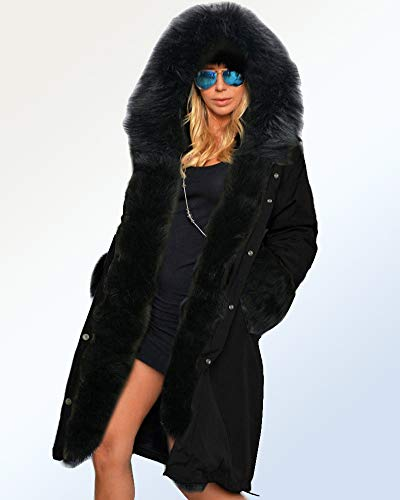 Roiii Women Winter Warm Thick Faux Fur Coat Hood Parka Long Jacket Size 8-20 (20,Black)