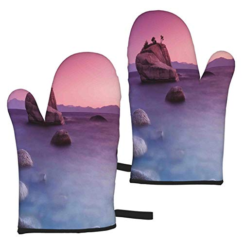 Oven Mitts Insulation Gloves Heat Resistant BBQ Glove Kitchen Oven Grill Bake Gloves Lake,Bonsai Rock Floating On Misty Lake Habitat Exquisite Wonders Dreamy Space Landscape,Pink Blue
