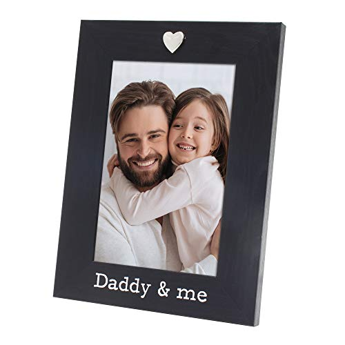 MIMOSA MOMENTS Silver Heart Black Picture Frame for 4x6 Photo (Daddy & me)