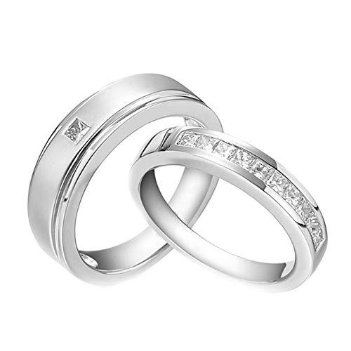 Daesar Vintage Platinum Rings for Women and Men Engagement Rings Set Matte Platinum Diamond Ring White Gold Rings Women Size Q 1/2 & Men Size O 1/2