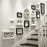 Photo frame collage Set 13 Pieces Wall-Mounted Frame, solid wood combination Picture Frames Wall, stairs creative photo background wall decoration (color : Black+white)