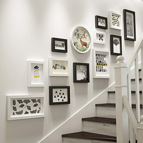 Photo mur Combinaison Bois Massif d'escalier Creative Photo Background Décoration Murale Cadre Photo Collage 13 Cadre Photo (Couleur : Black and White)