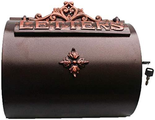 HZYDD Buzón de Aluminio Artesanías de Aluminio Caja de Letras de Pared Buzón de Cartas de Hierro Forjado Decoraciones de Villas (Color : Brown, Size : 33 * 33 * 13cm)