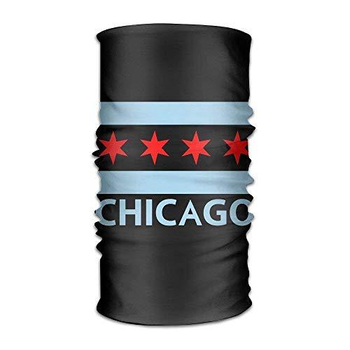 Voxpkrs Chicago City Flag Multifunctional Magic Headwear 12-in-1 Men&Women Tube Scarf Facemask Headbands Neck Gaiter Bandana Balaclava Helmet for Outdoor Running Yoga Work Out