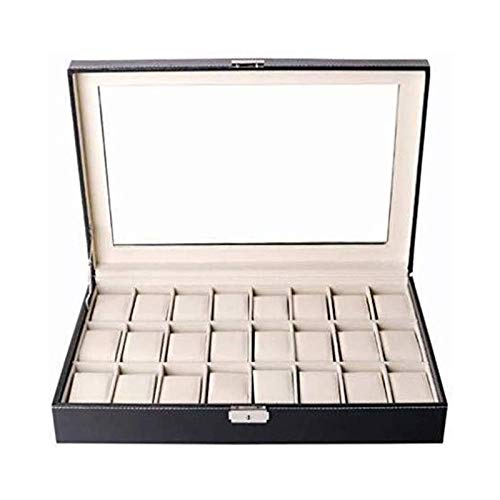 SSHA Joyero Caja de exhibición de Reloj de 24 Posiciones Reloj de Regalo Caja de Regalo Caja de Almacenamiento de múltiples Posiciones Organizador de Joyas
