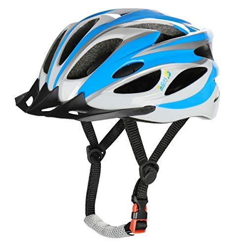 AGH Adult Bike Helmet, Mountain Bike Bicycle Helmets for Women Men, Adult Helmet with Detachable Visor (Blue)