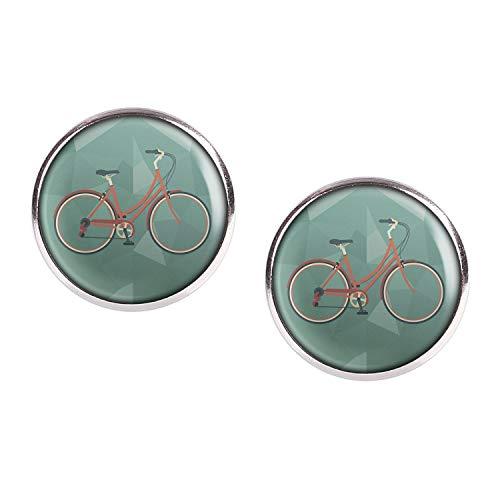 Mylery Ohrstecker Paar mit Motiv Damen-Rad City-Rad Stadt-Rad Rot silber 16mm