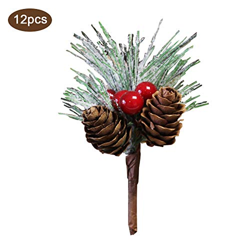 AOJIE Pine Snowy Flower Picks 12 Pieces,Red Berry and Pine Cone Christmas Picks with Holly Branches for Christmas Flower Arrangements and Wreath Winter Holiday Season DÃcor